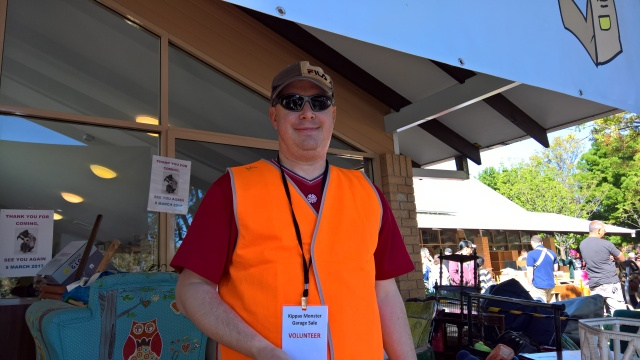 A volunteer at the Kippax Monster Garage Sale